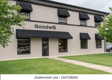 WINCHESTER, VA - 20 AUGUST 2018: Sign for Goodwill retail store in Winchester, Virginia