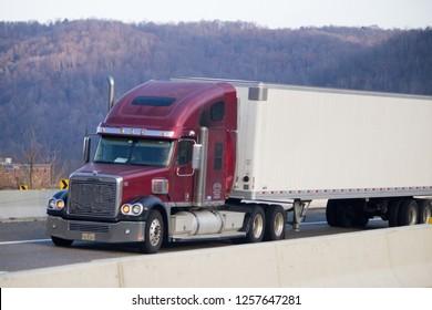Winchester, VA USA 12-12-18 Big Rig Truck on Highway