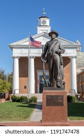 Winchester, Virginia, USA – September 23th, 2017: Winchester Union Soldier statue in front of the Shenandoah Valley Civil War Museum in downtown Winchester VA.