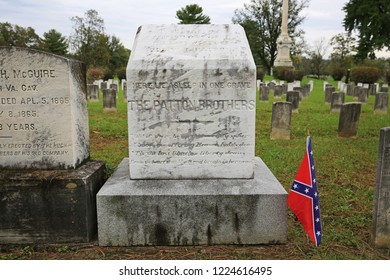 WINCHESTER, VIRGINIA/USA - OCTOBER 14, 2018: Grave of Confederate Colonel George S. Patton and Lt. Colonel Waller Tazewell Patton, revered grandfather and great uncle of WW II General George S. Patton