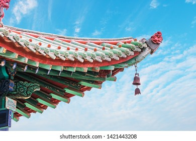 Wind bells on eaves of ancient Chinese buildings.
