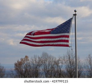 Wind blowing an American flag on the Blue Ridge of Virginia