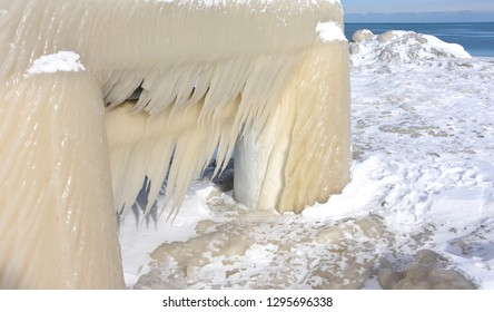 Wind blown icicles along the shore of Lake Michigan in January during a cold snap.