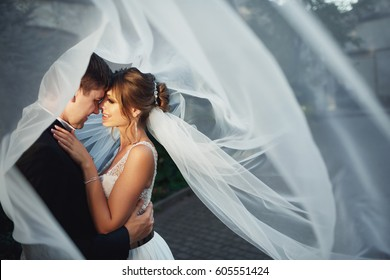 Wind blows veil on bride and groom looking at each other with love