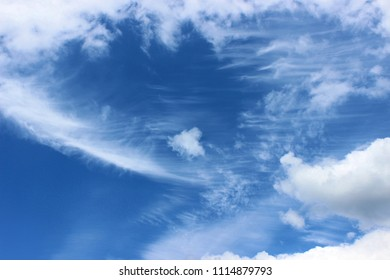 The wind in the clouds in clear weather. Cumulus clouds rise to the stratosphere.