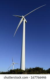 Wind energy business. Wind turbine closeup with blue sky and green grass
