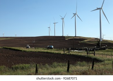 Wind energy and farmlands in rural Washington state.
