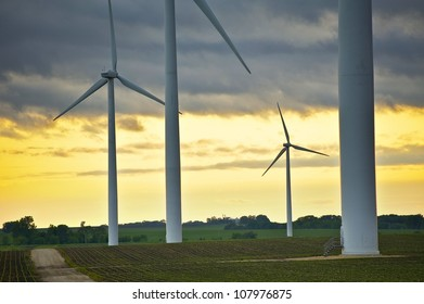 Wind Energy Overlook - Wind Turbines - Mower County, MN, USA. Sunset Theme.