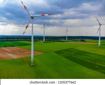 Wind energy plant on a hill - clean power