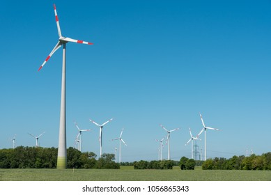 Wind energy plants on a sunny day in Germany