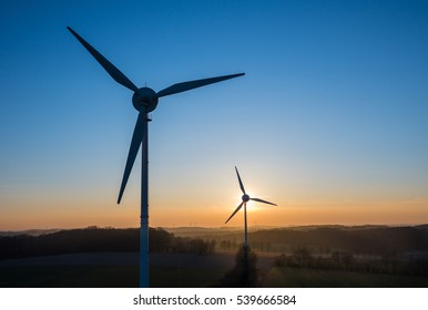 Wind Energy in sunset behind the