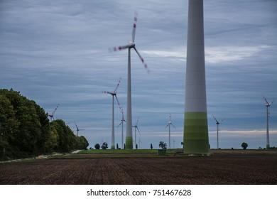 Wind farm in the beautiful Lower Austrian region, Europe