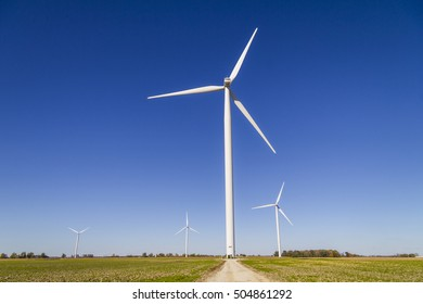 Wind Farm in Central Indiana. Wind and Solar Green Energy areas are becoming very popular in farming communities VII