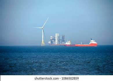 Wind farm installation. Aberdeen, Scotland, United Kingdom. May 8th 2018