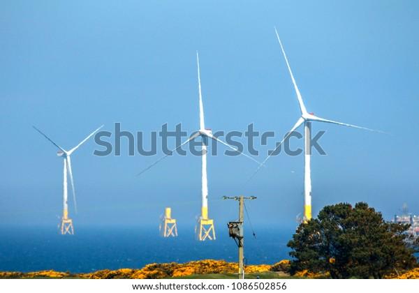 Wind farm installation. Aberdeen, Scotland, United Kingdom. May 8th 2018