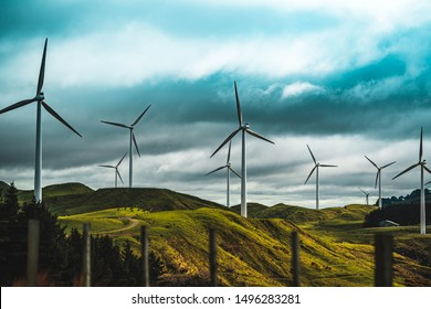 Wind farm in Manawatu, New Zealand