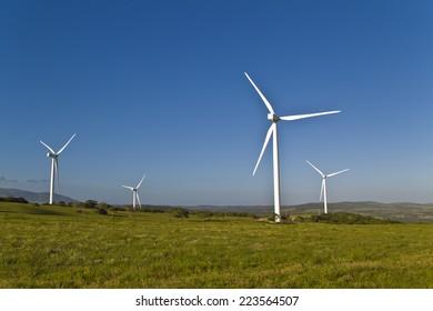 wind farm with many wind turbines creating renewable energy