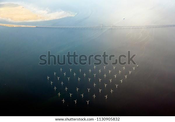 Wind farm near Oresund Bridge Between Sweden and Denmark