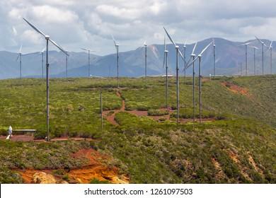 Wind farm near Oundjo, Northern Province, New Caledonia, Melanesia, Oceania, South Pacific Ocean. Wind power plant. Wind turbines.