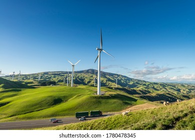 Wind farm next to a busy road in New Zealand