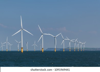 Wind farm in the North sea on the coast of United Kingdom.