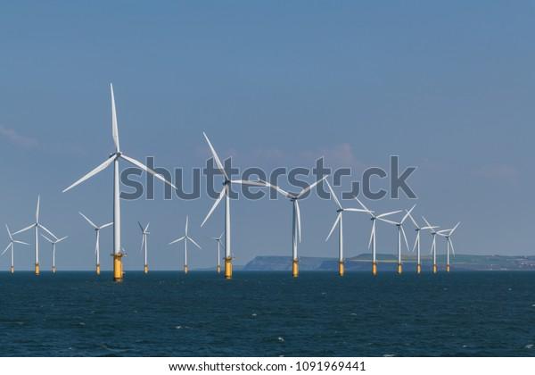 Wind farm in the North sea on the coast of United Kingdom.