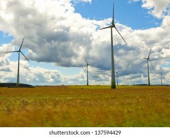 Wind farm on the farmland
