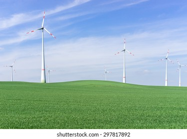 Wind farm on the field