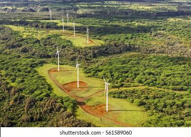 Wind farm on the island of Oahu, Hawaii, USA