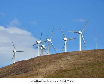 Wind farm on top of a mountain