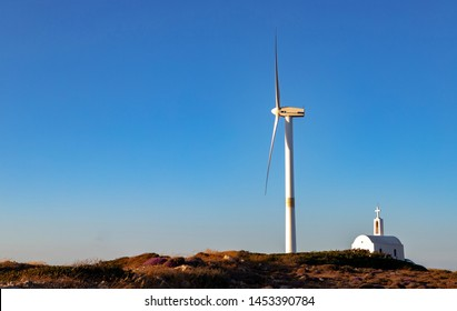 Wind farm, wind park in Vrouchas, Crete