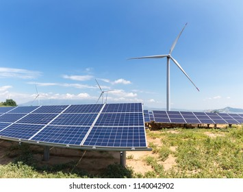 wind farm and photovoltaic power station in sandy land