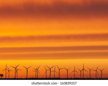 Wind farm in Scandinavia. Here in sunset in November.