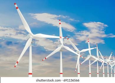 Wind farm, set of wind turbines. 3D rendering