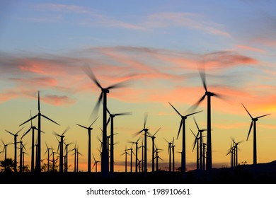 Wind farm in silhouette at dusk