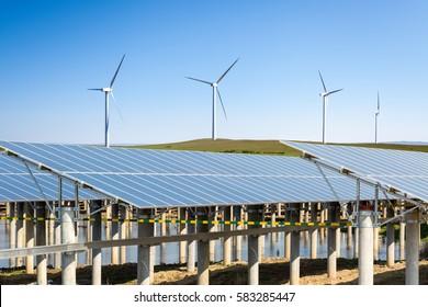 wind farm and solar energy under the sunny sky