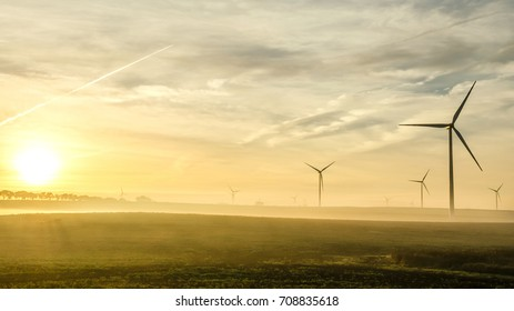 Wind farm at the sunrise
