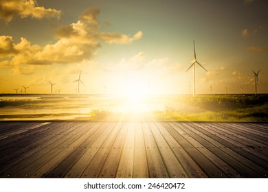 wind farm in the sunset, shanghai china.