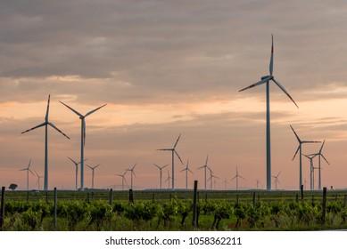 Wind farm of wind turbines