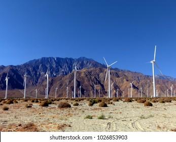 Wind farm turbines sustainable energy