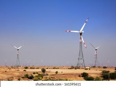 wind farm - turning windmills in rajasthan india