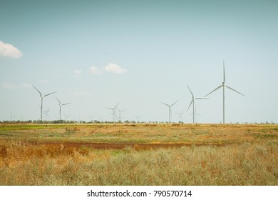 Wind farms generating electricity. Eco power