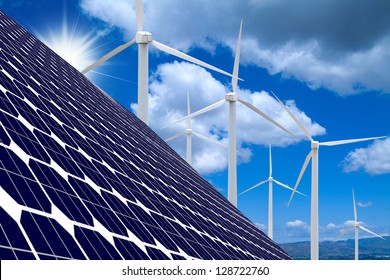 Wind farm,solar panels, blue sky and clouds