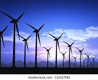 wind field with wind turbines