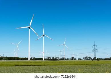 Wind generation plants seen in rural Germany