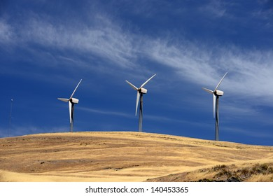wind generator with cloud and blue sky