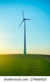 wind generator on the green field