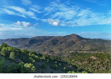Wind generator, Wind power plants in the mountains, Portman, Murcia, Spain