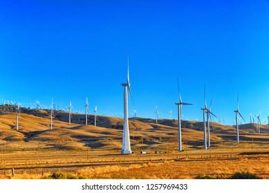 Wind generators in the endless fields of Arizona, USA.