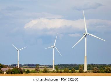 Wind generators in a field